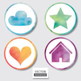 Watercolor buttons set. Set of four icons. Web and mobile apps circle watercolor button.  Vector illustration Stock Photo