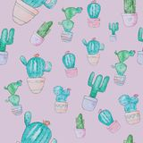 Watercolor cacti on pink background. Seamless pattern stock images