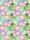 Watercolor cactus illustration, seamless pattern. Stock Photo
