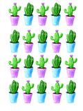 Watercolor cactus pattern with blue and violet pot on white background vector illustration