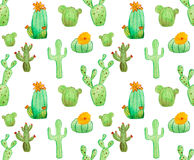 Watercolor cactus seamless pattern Stock Photography