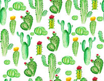 Watercolor cactus seamless pattern stock illustration