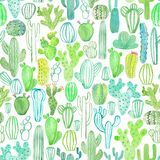 Watercolor cactus seamless pattern royalty free illustration
