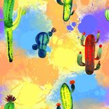 Watercolor cactus set on color background, pattern royalty free stock photos