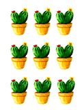 Watercolor cactus pattern with flowers on white background stock illustration