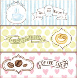 Watercolor cafe tags, labels ,banners set.eps Stock Photos