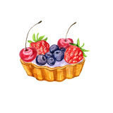 Watercolor cake with berries Royalty Free Stock Photo