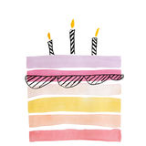 Watercolor cake for birthday Stock Images