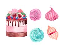 Watercolor cake with chocolate and berries and marshmellaw and merengues on white background vector illustration