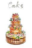 Watercolor cake Stock Image