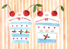 Watercolor cake Stock Photo
