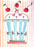 Watercolor cake Stock Images