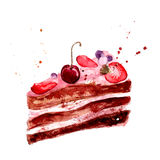 Watercolor cake with pink fruit cream, cherry and strawberry. Stock Photography