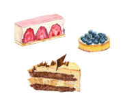Watercolor  cakes with fruits. Royalty Free Stock Photos