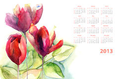 Watercolor calendar for 2013. Watercolor calendar with green leaves and Tulips flower Stock Photos