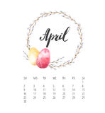 Watercolor Calendar template for April 2017 year. Beautiful Calendar template with delicate and colorful watercolor floral round composition and hand drawn name Royalty Free Stock Images