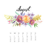 Watercolor Calendar template for August 2017 year. Beautiful Calendar template with delicate and colorful watercolor forest flowers and plants and hand drawn Royalty Free Stock Image