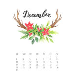 Watercolor Calendar template for December 2017 year. Beautiful Calendar template with delicate and colorful watercolor florals and deer horns with hand drawn Royalty Free Stock Photography