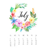 Watercolor Calendar template for July 2017 year. Beautiful Calendar template with delicate and colorful watercolor tropical flowers frame and hand drawn name of Royalty Free Stock Image