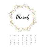 Watercolor Calendar template for March 2017 year Royalty Free Stock Image