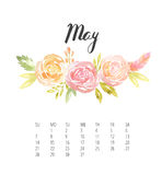 Watercolor Calendar template for May 2017 year. Beautiful Calendar template with delicate and colorful watercolor floral round composition and hand drawn name of Royalty Free Stock Photography