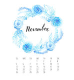 Watercolor Calendar template for November 2017 year Royalty Free Stock Photography