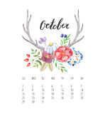 Watercolor Calendar template for October 2017 year. Beautiful Calendar template with delicate and colorful watercolor forest floral set and hand drawn name of Royalty Free Stock Image