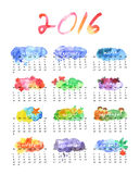 Watercolor calendar 2016 Stock Photography