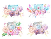 Watercolor camera and flowers. Set of watercolor photo camera with flowers and feathers in boho style. Hand painted photo clip art perfect for logo design and