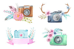 Watercolor camera logo templates with flowers Royalty Free Stock Image