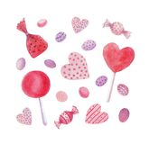 Watercolor candies, sweets, hearts, lollipops royalty free illustration