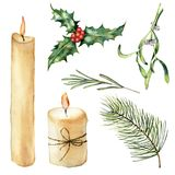 Watercolor candle with decor set. Hand painted candle, holly, mistletoe rosemary, christmas tree branch isolated on. White background. Christmas botanical clip Stock Image