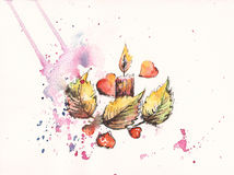 watercolor candle, autumn leaves and red hearts Royalty Free Stock Image