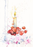 watercolor candle and red hearts Royalty Free Stock Images