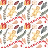 Watercolor Candy cane, Holly, seamless pattern. Watercolor texture. stock illustration