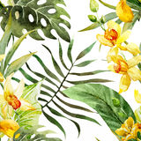 Watercolor canna flowers pattern stock illustration