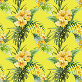 Watercolor canna flowers pattern Royalty Free Stock Photos