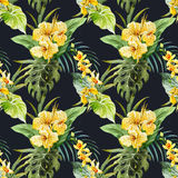 Watercolor canna flowers pattern Stock Photography