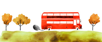 Watercolor car. Beautiful cartoon double decker bus  on white background. Hand drawn watercolor double decker bus with autumn trees and grass for your design Royalty Free Stock Photography