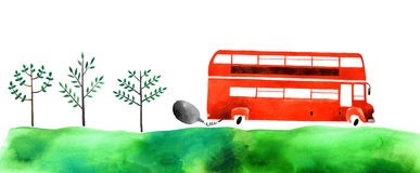 Watercolor car. Beautiful cartoon double decker bus  on white background. Hand drawn watercolor double decker bus with green grass and trees for your design Royalty Free Stock Photography