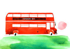 Watercolor car. Beautiful cartoon double decker bus  on white background. Hand drawn watercolor double decker bus with green grass for your design Stock Image