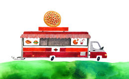 Watercolor car. Beautiful cartoon food track  on white background. Hand drawn watercolor food truck with green grass for your design Stock Image