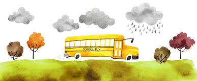 Watercolor car. Beautiful cartoon school bus  on white background. Hand drawn watercolor school bus with autumn trees and grass and clouds for your design Stock Photo