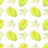 Watercolor carambola fruits seamless pattern stock illustration