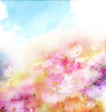Watercolor card with beautiful flower stock photography