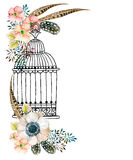 Watercolor card with bird cage and flowers. Stock Images