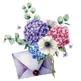 Watercolor card with bouquet and blue envelope. Hand painted hydrangea, anemone flowers with eucalyptus leaves and royalty free illustration