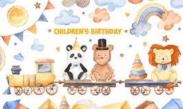 Watercolor card for children`s birthday. royalty free illustration