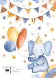 Watercolor card for children`s birthday. stock illustration