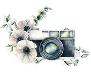 Watercolor card composition with camera and anemone bouquet. Hand painted photographer logo with floral illustration. Isolated on white background. For design royalty free stock image